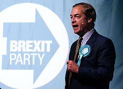 Brexit Party Rally, Edinburgh, Friday 17th May 2019<br /> <br /> The Brexit Party held a rally in the Corn Exchange, Edinburgh today with leader Nigel Farage giving a speech.<br /> <br /> A protest was held outside by the Stand Up To Racism group.<br /> <br /> Pictured: Nigel Farage<br /> <br /> Alex Todd | Edinburgh Elite media