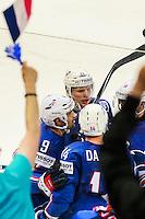 Joie Damien Fleury / Antoine Roussel - 05.05.2015 - Autriche / France  - Championnats du Monde de Hockey sur Glace 2015 -Prague<br />Photo : Xavier Laine / Icon Sport *** Local Caption ***