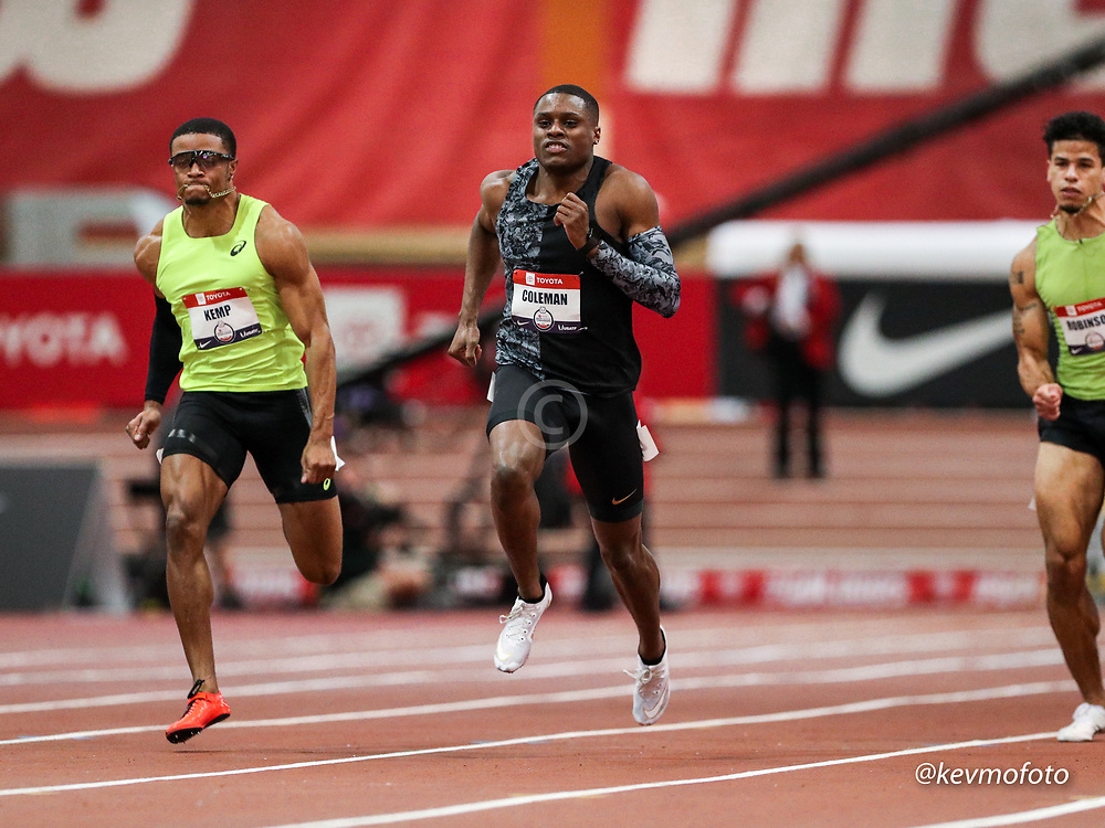 2020 USATF Indoor Championship<br /> Albuquerque, NM 2020-02-14<br /> photo credit: © 2020 Kevin Morris<br /> mens 60m heats, Nike