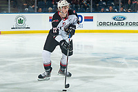 KELOWNA, BC - DECEMBER 18:  Connor Horning #22 of the Vancouver Giants skates with the puck against the Kelowna Rockets at Prospera Place on December 18, 2019 in Kelowna, Canada. (Photo by Marissa Baecker/Shoot the Breeze)