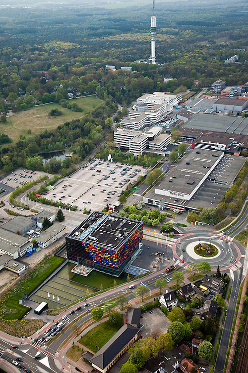Nederland, Noord-Holland, Hilversum, 28-04-2010; Mediapark met Nederlands Instituut voor Beeld en Geluid in de voorgrond..Media Park with Dutch Institute for Sound and Vision.luchtfoto (toeslag), aerial photo (additional fee required).foto/photo Siebe Swart