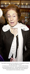The MARCHIONESS OF SALISBURY at a party in London on 4th April 2002.OYU 27