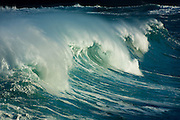 Giant winter surf on Oahu's North Shore at Waimea Bay, Hawaii
