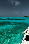 Tourist boat<br /> Lighthouse Reef Atoll<br /> Belize<br /> Central America