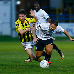 AFC Fylde's midfielder Jim Kellermann and Dover's midfielder Jai Reason both clash during the National League match between Dover Athletic FC and AFC Flyde at Crabble Stadium, Kent on 08 December 2018. Photo by Matt Bristow.