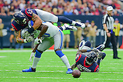 HOUSTON, TX - OCTOBER 30: Houston Texans Linebacker John Simon (51) smothers Detroit Lions Wide Receiver Anquan Boldin (80) to breakup a first half catch during the NFL football game between the Detroit Lions and Houston Texans on October 30, 2016 at NRG Stadium in Houston, TX. (Photo by Ken Murray/Icon Sportswire)