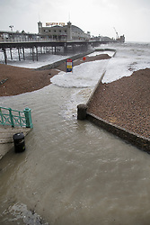 © Licensed to London News Pictures. 08/02/2016. Brighton, UK. Storm Imogen has brought sea water onto part of the promenade at Brighton. Photo credit: Peter Macdiarmid/LNP
