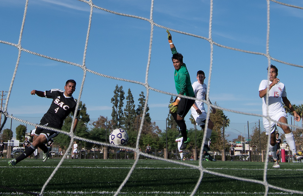 During the Orange Coast College Mens Soccer vs. Santa Ana College soccer game on Friday, November 4, 2016 player Joseph Vasquez scores.  ©Annette Wilkerson/Sports Shooter Academy