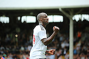 Fulham striker, Sone Aluko celebraing scoring opening goal of game 1-0  during the Pre-Season Friendly match between Fulham and Crystal Palace at Craven Cottage, London, England on 30 July 2016. Photo by Matthew Redman.