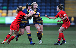 Jodie Rettie of Saracens Women tackles Lauren Leatherland of Worcester Valkyries- Mandatory by-line: Nizaam Jones/JMP - 01/12/2018 - RUGBY - Sixways Stadium - Worcester, England - Worcester Valkyries v Saracen Women- Tyrrells Premier 15s
