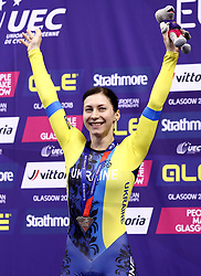 Ukraine's Olena Starikova celebrates winning Silver in the Women's 500m Time Trial Final during day five of the 2018 European Championships at the Sir Chris Hoy Velodrome, Glasgow.
