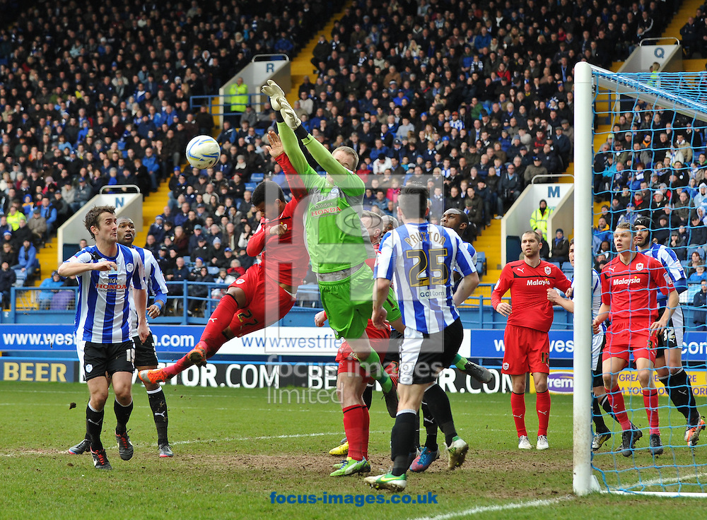 Picture by Richard Land/Focus Images Ltd +44 7713 507003.16/03/2013.Chris Kirkland of Sheffield Wednesday is fouled as he punches clear during the npower Championship match at Hillsborough, Sheffield.
