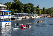 Henley on Thames, England, United Kingdom, 5th July 2019, Henley Royal Regatta,  Left, Harvard University A vs Cambridge University in Fridays Heats of the Prince Albert Challenge Trophy, Henley Reach, [© Peter SPURRIER/Intersport Image]<br /> <br /> 09:12:20 1919 - 2019, Royal Henley Peace Regatta Centenary,