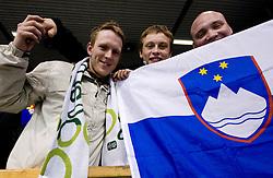 Slovenian fans at IIHF Ice-hockey World Championships Division I Group B match between National teams of Slovenia and Croatia, on April 18, 2010, in Tivoli hall, Ljubljana, Slovenia. (Photo by Matic Klansek Velej / Sportida)
