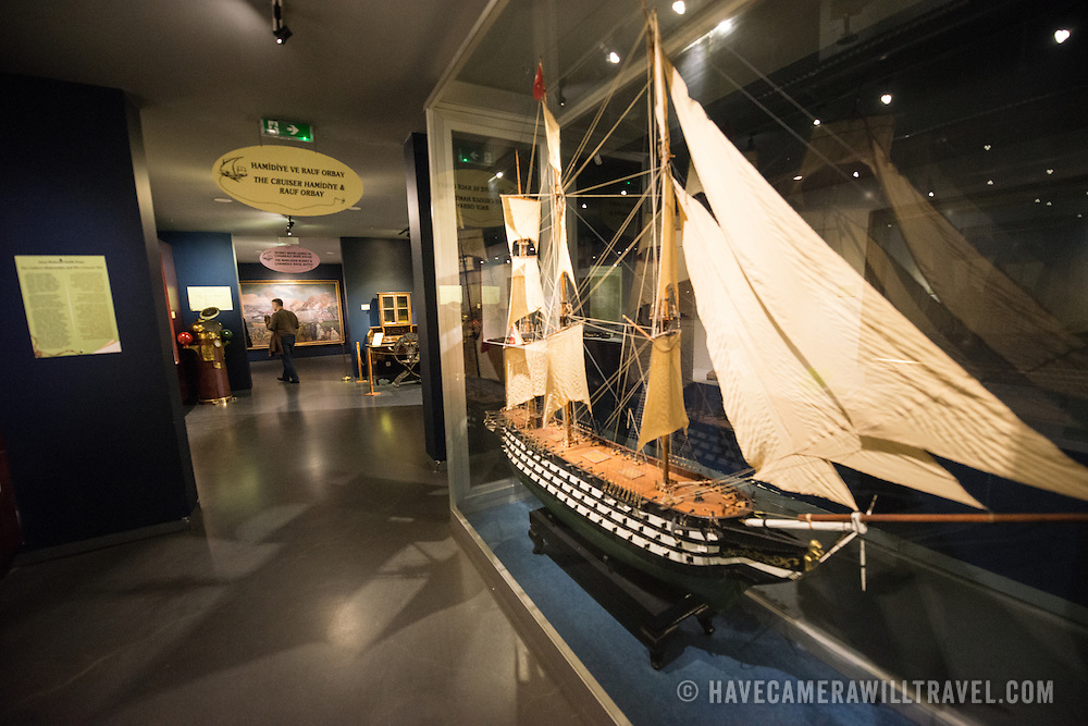 A scale model of the galleon Mahmudiye, in active service in the Turkish Navy from 1829-1874. The Istanbul Navy Museum dates back over a century but is now housed in a new purpose-built building on the banks of the Bosphorus. While ostensibly relating to Turkish naval history, the core of its collection consists of 14 imperial caiques, mostly from the 19th century, that are displayed on the main two floors of the museum.