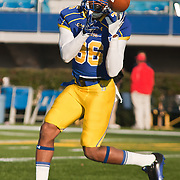 11/12/11 Newark DE: Delaware Wide receiver Michael Johnson #36 attempts to catch the pass during warm ups prior to a Week 10 NCAA football game against Richmond...Special to The News Journal/SAQUAN STIMPSON
