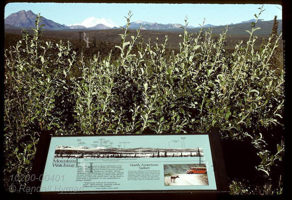 Park Service interpretive sign identifies Mt McKinley and other peaks on horizon; Denali N.P. Alaska