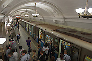 Novokuznetskaya Metro Station. Opened in 1943 the murals depict battles of WWII. The white marble is from Siberia.