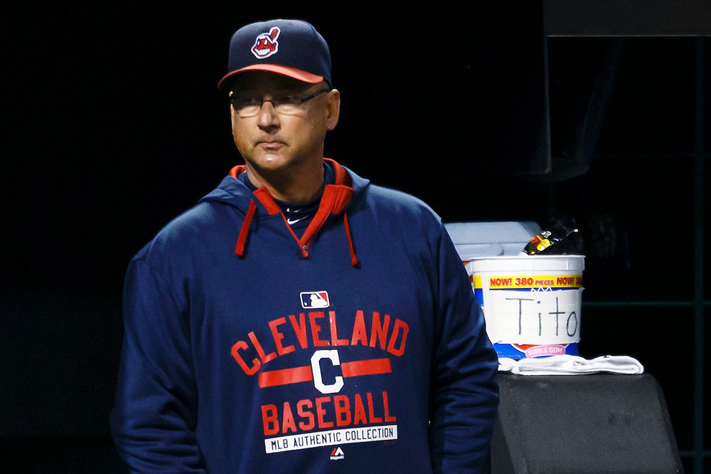 May 1, 2015; Cleveland, OH, USA; Cleveland Indians manager Terry Francona (17) watches from the dugout during the sixth inning against the Toronto Blue Jays at Progressive Field. Mandatory Credit: Rick Osentoski-USA TODAY Sports
