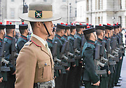 Photographer: Rick Findler<br /> <br /> 30.04.15 The Brigade of Gurkhas today celebrated their service in every major conflict in which Britain has been involved in for the last 200 years. To celebrate this heritage the Brigade of Gurkhas marched from Wellington Barracks down the Mall to the Gurkha Statue in Whitehall and held a memorial service for the rich Gurkha history. <br /> Pictured: A Brigade of Gurkha's prepare to stand ready for inspection by General Sir Peter Wall, chairman of the Gurkha Welfare Trust.
