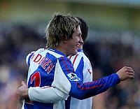 Photo: Andrew Unwin.<br />Blackburn Rovers v Middlesbrough. The Barclays Premiership. 18/03/2006.<br />Blackburn's Morten Gamst Pedersen celebrates his goal.