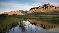 Pond in Loðmundarfjörður, Mount Gunnhildur in bavkground.