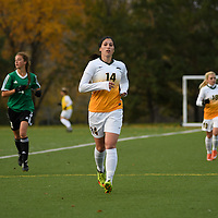 2nd year forward Sienne Krynowsky (14) of the Regina Cougars in action during the Women's Soccer home game on October 7 at U of R Field. Credit: Arthur Ward/Arthur Images