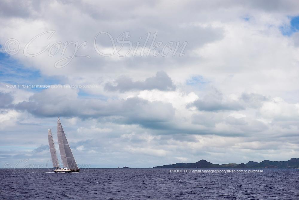 Sojana sailing in the Antigua Superyacht Challenge, day one.