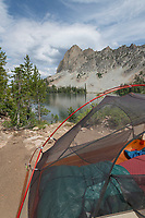 Backcountry camp at Alice Lake Sawtooth Mountains Idaho