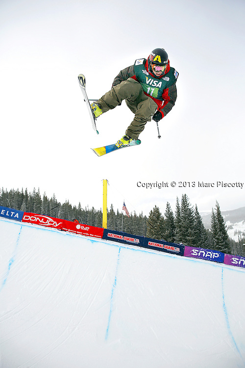 SHOT 1/12/13 10:17:42 AM - Canadian skier Matt Margetts flies high above the pipe during the men's Ski Halfpipe finals at the U.S. Snowboarding and Freeskiing Grand Prix at Copper Mountain, Co. (Photo by Marc Piscotty / © 2013)