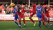 Lewis Young with the clerance during the Sky Bet League 2 match between Crawley Town and Notts County at the Checkatrade.com Stadium, Crawley, England on 16 January 2016. Photo by Michael Hulf.