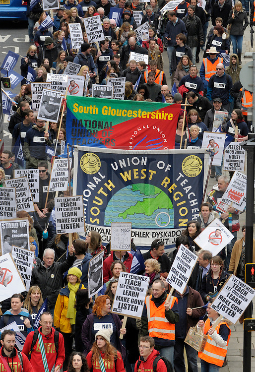 LNP Weekly Highlights 28/03/14  © Licensed to London News Pictures. 26/03/2014; Bristol, UK.  Members of the National Union of Teachers stage a march and rally in Bristol as part of a national one day strike over pensions, performance related pay, and excessive workloads.<br /> Photo credit: Simon Chapman/LNP