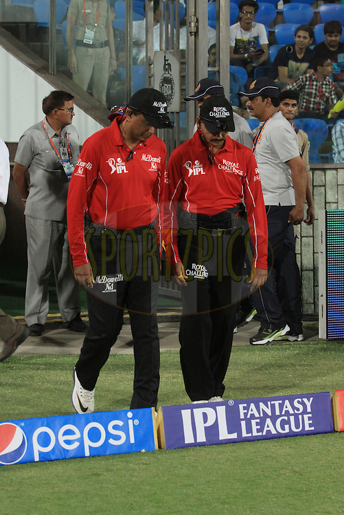 Umpires on ground during match 23 of the Pepsi Indian Premier League Season 2014 between the Delhi Daredevils and the Rajasthan Royals held at the Feroze Shah Kotla cricket stadium, Delhi, India on the 3rd May  2014<br /> <br /> Photo by Arjun Panwar / IPL / SPORTZPICS<br /> <br /> <br /> <br /> Image use subject to terms and conditions which can be found here:  http://sportzpics.photoshelter.com/gallery/Pepsi-IPL-Image-terms-and-conditions/G00004VW1IVJ.gB0/C0000TScjhBM6ikg