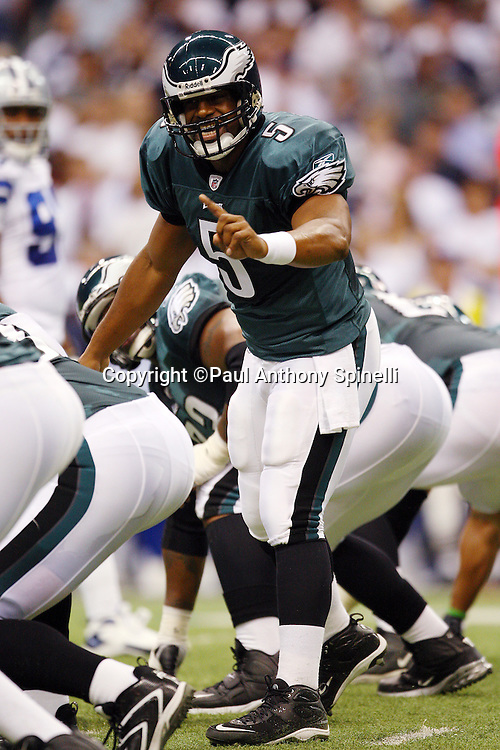 IRVING, TX - SEPTEMBER 15:  Quarterback Donovan McNabb #5 of the Philadelphia Eagles calls an audible during the game against the Dallas Cowboys at Texas Stadium on September 15, 2008 in Irving, Texas. The Cowboys defeated the Eagles 41-37. ©Paul Anthony Spinelli *** Local Caption *** Donovan McNabb