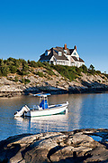 House and boat along Ocean Drive, Newport, RI, Rhode Island, USA