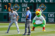 PITTSBURGH, PA - AUGUST 16: Andre Ethier #16 of the Los Angeles Dodgers smiles while being mocked by the Pittsburgh Pirates mascot prior to a game at PNC Park on August 16, 2012 in Pittsburgh, Pennsylvania. The Pirates won 10-6. (Photo by Joe Robbins)