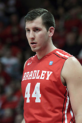 15 February 2014:  Jordan Prosser during an NCAA Missouri Valley Conference (MVC) mens basketball game between the Bradley Braves and the Illinois State Redbirds  in Redbird Arena, Normal IL.
