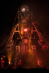 © Licensed to London News Pictures. 31/03/201. GEEVOR TIN MINE, CORNWALL. UK. Man Engine resurrection Tour started with the first live performances to the public at Geevor Tin Mine in West Cornwall.  Photo credit: MARK HEMSWORTH/LNP