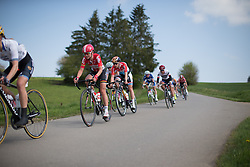 Claudia Lichtenberg (GER) of Lotto Soudal Cycling Team tackles a speedy downhill section in the first short lap during the second, 110.1km road race stage of Elsy Jacobs - a stage race in Luxembourg in Garnich on May 1, 2016.