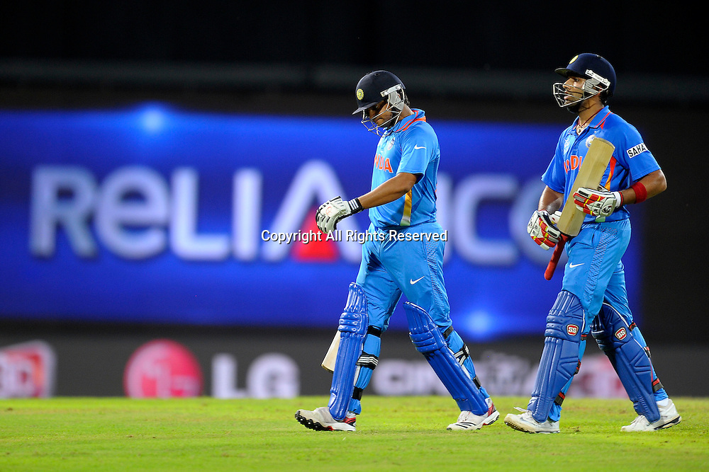 23.09.2012. Colombo, Sri Lanka. T20 World Cup England versus India held in Colombo Sri Lanka on the 23rd of September 2012 Suresh Raina(L) Rohit Sharma