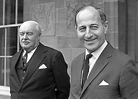 Captain Terence O'Neill, right, with Lord Grey, Governor of N Ireland, at Government House, Hillsborough, Co Down, to tender his resignation as Prime Minister of N Ireland. 196905010174b.<br /> <br /> Copyright Image from Victor Patterson,<br /> 54 Dorchester Park, Belfast, UK, BT9 6RJ<br /> <br /> t1: +44 28 90661296<br /> t2: +44 28 90022446<br /> m: +44 7802 353836<br /> <br /> e1: victorpatterson@me.com<br /> e2: victorpatterson@gmail.com<br /> <br /> For my Terms and Conditions of Use go to<br /> www.victorpatterson.com