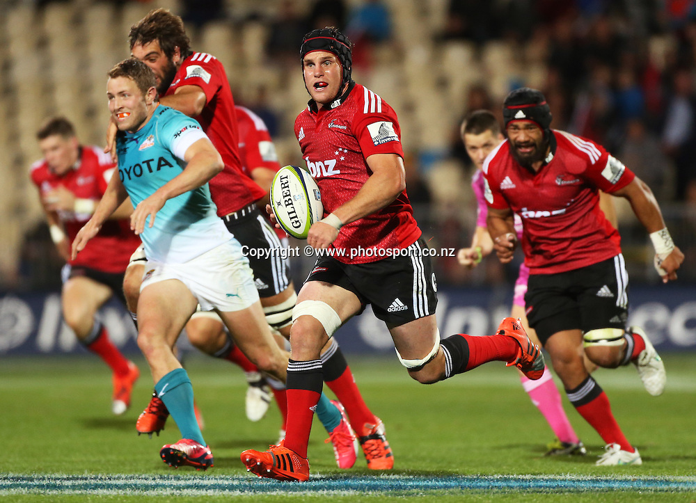 Matt Todd of the Crusaders runs with the ball during the Investec Super Rugby game between the Crusaders v Cheetahs at AMI Stadium in Christchurch. 21 March 2015 Photo: Joseph Johnson/www.photosport.co.nz