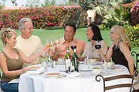 Friends toasting at outdoor table