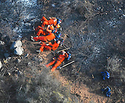 AErial view of Firefighters taking a break after battling San Diego Fires
