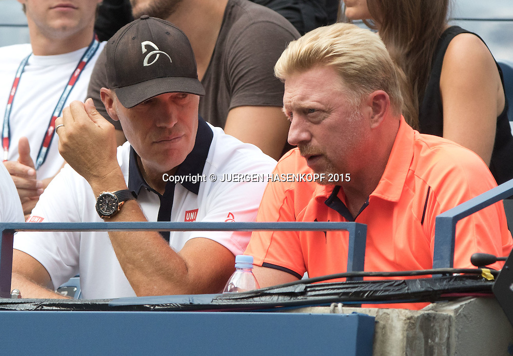 Novak Djokovic Team,Trainer Boris Becker und Fitness Coach Gebhard Gritsch in der Spielerloge,<br /> <br /> Tennis - US Open 2015 - Grand Slam ITF / ATP / WTA -  Flushing Meadows - New York - New York - USA  - 4 September 2015.