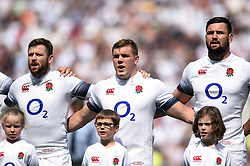 Elliot Daly, Jack Singleton and Elliot Stooke of England sing the national anthem - Mandatory byline: Patrick Khachfe/JMP - 07966 386802 - 27/05/2018 - RUGBY UNION - Twickenham Stadium - London, England - England v Barbarians - Quilter Cup