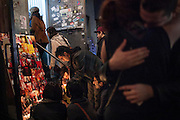 A candlelight vigil for the Yellow Dogs, the band whose members were killed last week, at Cameo Gallery, 93 North 6th Street in the Williamsburg neighborhood of Brooklyn, NY on Monday, Nov. 18, 2013.<br /> <br /> Photograph by Andrew Hinderaker