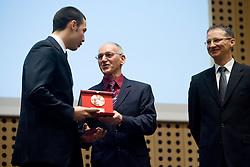 Rok Rozman, Miro Cerar and Slovenian Minister for school and sport dr. Igor Luksic at 45th Awards of Stanko Bloudek for sports achievements in Slovenia in year 2009, on February 9, 2010, Brdo pri Kranju, Slovenia.  (Photo by Vid Ponikvar / Sportida)