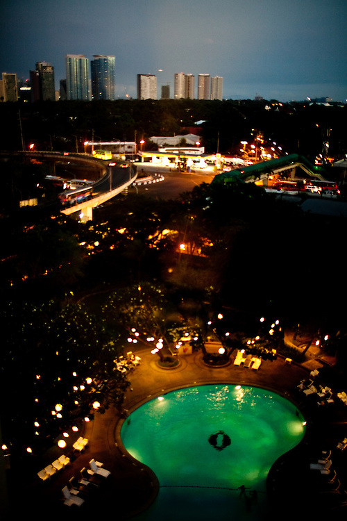 Night view on Makati from the Intercontinental Hotel, Manila. The capital of the Philippines is a city of contrasts.