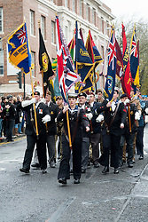 standards parade past the war memorial and Town Hall during Remembrance Sunday event Barnsley South Yorkshire <br /> <br />  08 October 2015<br />  Copyright Paul David Drabble<br />  www.pauldaviddrabble.co.uk